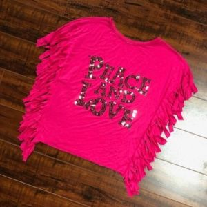 PEACE AND LOVE Silver Sequin Hot Pink Fringe Top